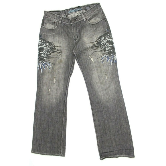 Affliction Other - Affliction Gray Drowning Skulls Embroidered Jeans